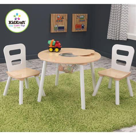 table et chaises enfants table ronde avec filet et 2 chaises bois et blanc 27027