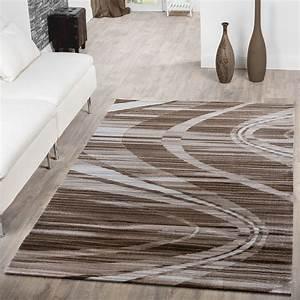 moderner teppich wohnzimmer mit wellen muster streifen With balkon teppich mit tapete streifen beige