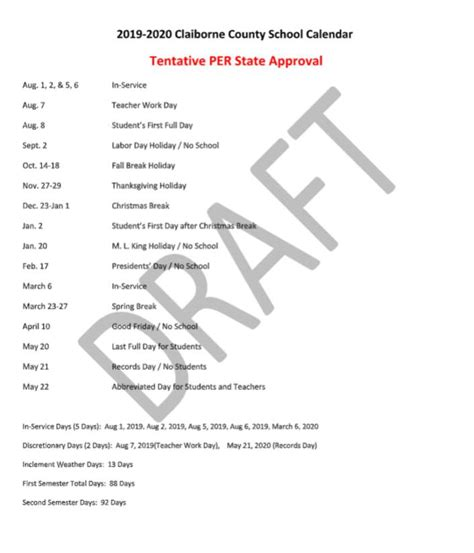 update approved calendar claiborne county schools