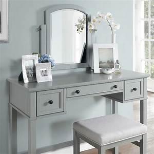 Crosley, Furniture, -, Vista, 3, Piece, Vanity, Set, Gray, -, Vanity, Mirror, Stool
