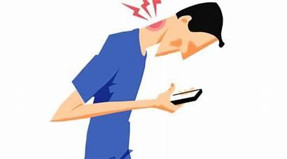 Neck Pain Clipart Texting Technology Line Put