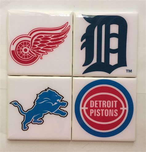 coasters handmade detroit sport team logos ceramic coaster set