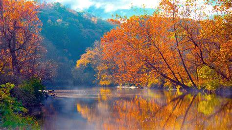 Wallpaper High Resolution Fall Backgrounds by Autumn Lake Sunset In High Resolution Hd Desktop Wallpaper