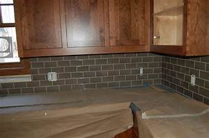 Subway tile backsplash kitchen brown cabinets home for Brown subway tile kitchen backsplash