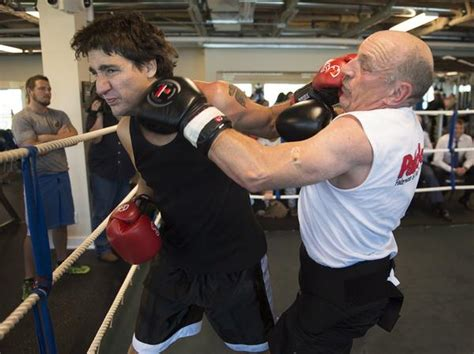 video justin trudeau steps    boxing ring