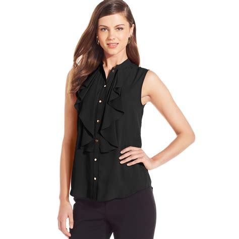 black sleeveless blouse lyst ivanka sleeveless ruffle front blouse in black