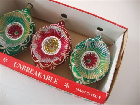 vintage italian christmas ornaments unbreakable indents