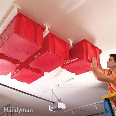 create  sliding storage system   garage ceiling