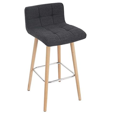 tabouret chaise de bar 2x tabouret de bar malmö t430 chaise bar comptoir design rétro en bois gris foncé tissu