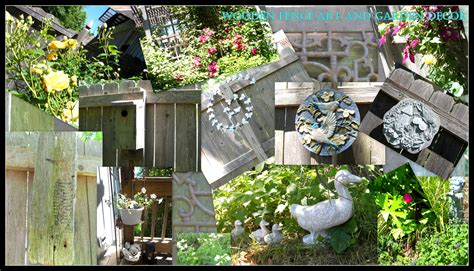 Backyard Fence Decor - wooden fence and garden decor brendakyle