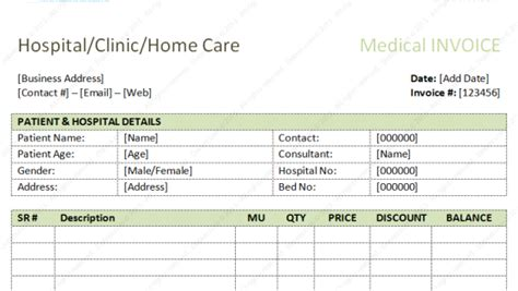 dental invoice template excel  word