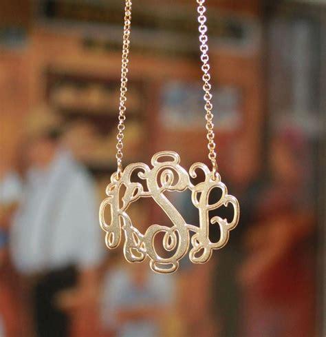 gold plated vine script monogram necklace  monogrammed