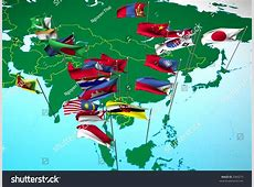 Flags Nations South East Asia Flying Stock Illustration