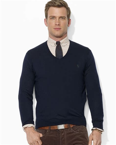 mens v neck sweater ralph polo merino wool v neck sweater in blue for