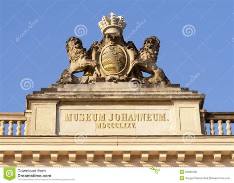 Dresden Johanneum Building. Statue On Roof Top. Stock