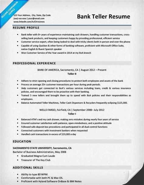 bank teller resume sle writing tips companion