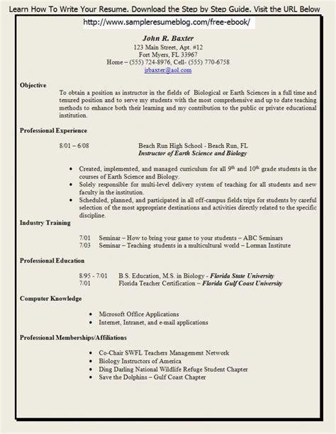 free resume templates for teachers to sle
