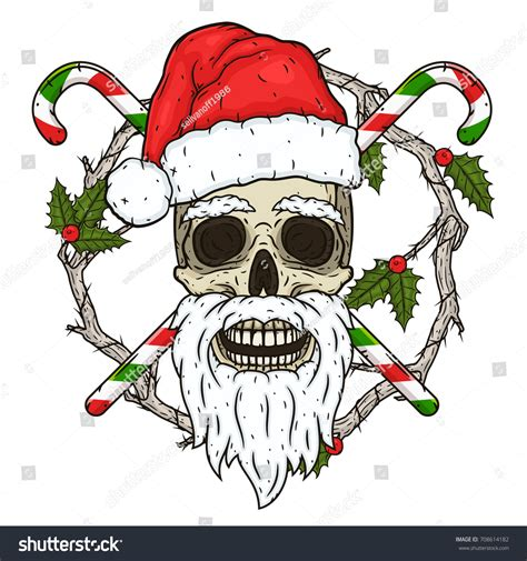 Skull Santa Claus Background Branches Mistletoe Stock Skull Santa Claus Background Branches Mistletoe Stock