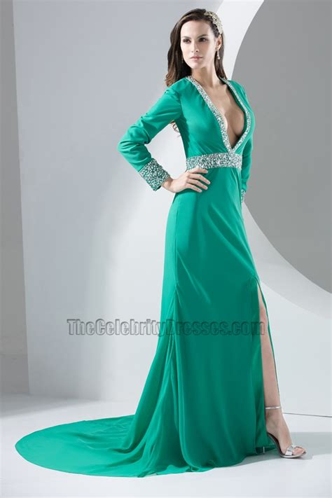 sexy long sleeve deep  neck evening dress prom gown thecelebritydresses
