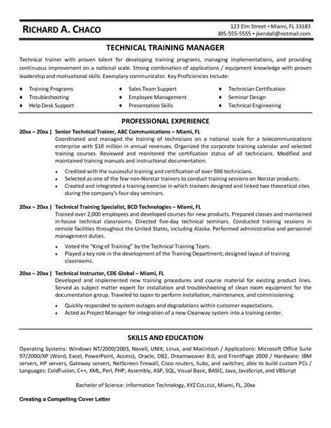 training coordinator resume resume cover letter exle