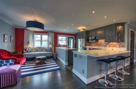 Gray Living Room Blue Kitchen by Kitchen Of The Day Gray Kitchen With White And