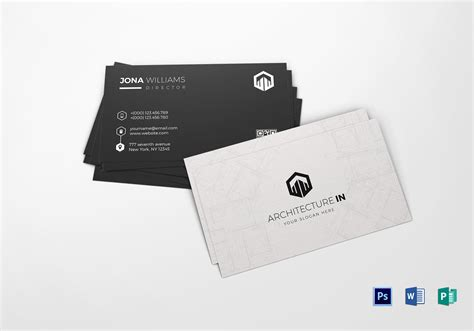 simple architect business card design template  word