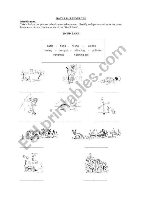 natural resources esl worksheet by nechi