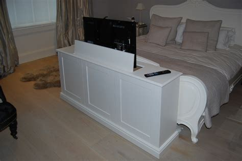 Bedroom TV cabinet with lift, End of bed pop up TV cabinet