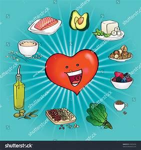 Ten Best Foods Heart Healthy Cartoon Stock Vector 43639456 ...