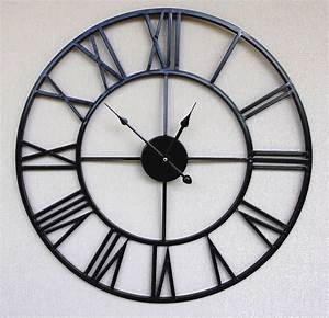 Black metal retro chic large wall clock with roman for Black metal wall clocks