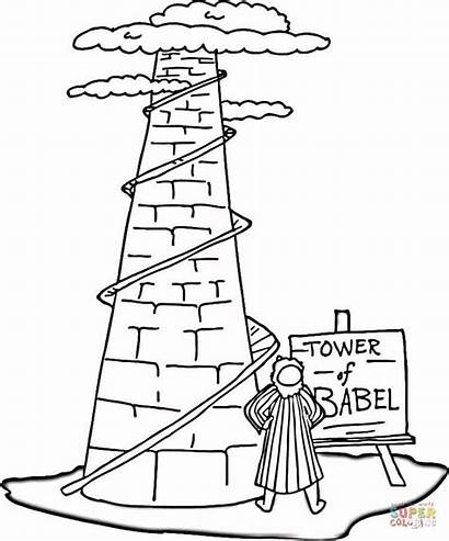 Babel Tower Coloring Printable Pages Bible Sheets