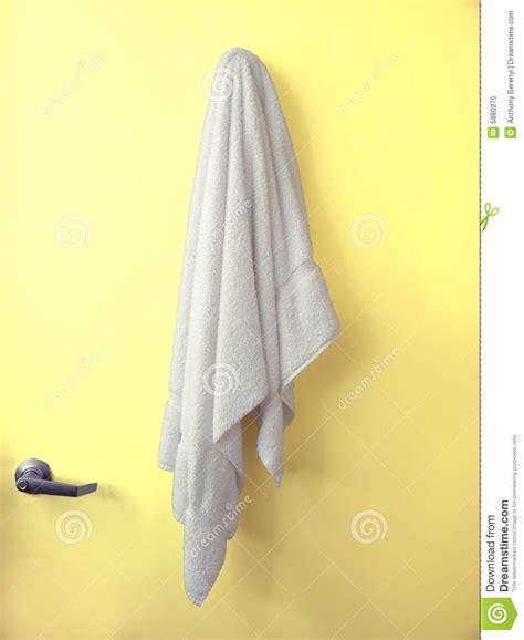Towels Hanging In Bathroom Stock Hanging Towel Yellow Door Stock Image Image Of Cloth