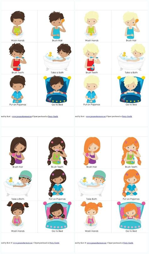 personal hygiene  bedtime routine chart  cards