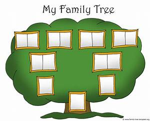 Family tree template chart for kids with picture frames ...