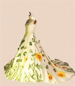 Unique wedding dresses non white bridal gown sunflowers for Sunflower dresses for wedding
