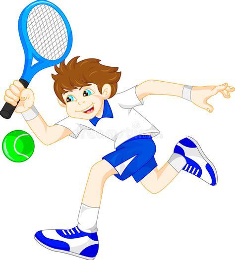 cartoon boy playing tennis stock vector illustration  background