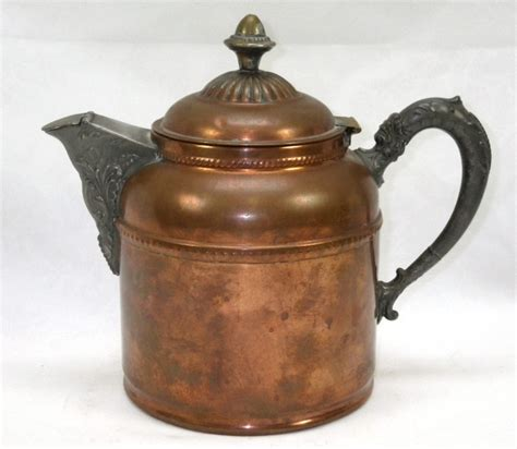 antique rochester stamping works ny  ornate copper coffee pot pewter copper