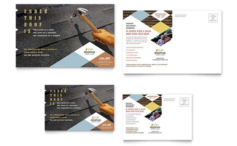 Roofing Contractor Postcard Template Design Business Visiting Cards Samples Printing Avery 5371 Jukebox Australia Vistaprint Nz Digital Iphone App American Psycho Clip Moo Square Dimensions Cool