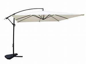 Parasol Déporté Carré : parasol d port inclinable carr 3x3m coloris cru avec manivelle anti retour solenzara ~ Mglfilm.com Idées de Décoration