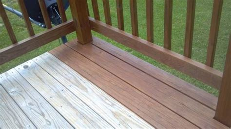 defy extreme wood stain in light walnut on a pressure