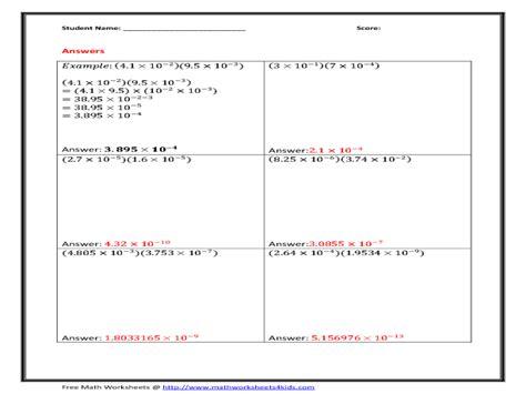 multiply scientific notation worksheet free worksheets