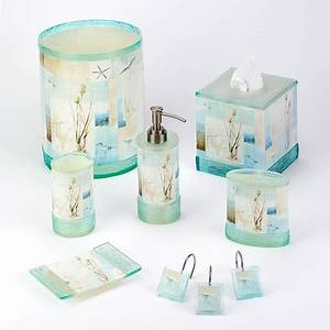 Tropical nautical and beach bathroom accessories for Beach bathroom accessories