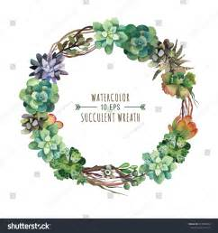 vector flower wreath of succulents in a watercolor style vintage floral wreath decorative