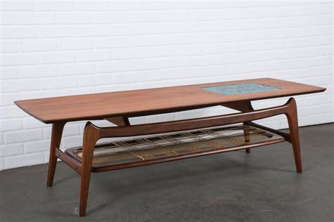 vintage mid century coffee table with tile inlay by louis