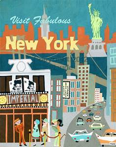 New York Poster : new york city mid century modern travel poster art print retro ~ Orissabook.com Haus und Dekorationen