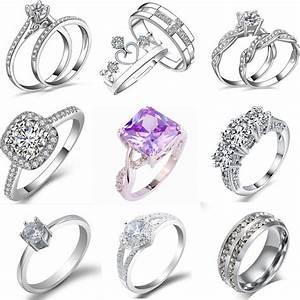 women engagement wedding ring crystal rhinestone white With wedding ring jewelry