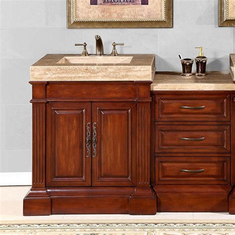 single sink vanity   unique travertine top