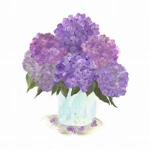original watercolor floral vase series purple hydrangea