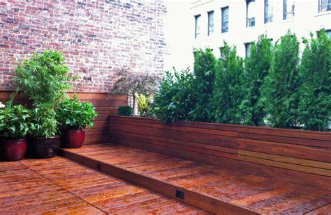 Asian Storage Bench by Manhattan Roof Garden Terrace Deck Wood Planter Boxes