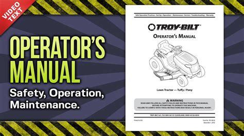 operators manual troy bilt tuffypony lawn tractor